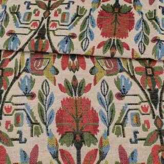 Гобелен молочный в красно-желто-зелено-голубые цветы ш.152 оптом
