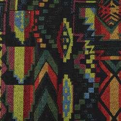 Гобелен черный в зелено-желто-бордовый геометрический узор ш.152 оптом