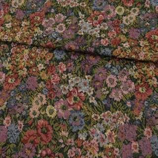Гобелен в сиреневые, голубые, красные цветы, ш.150 оптом