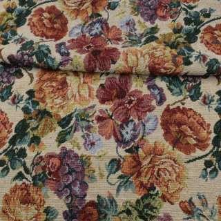 Гобелен бежевый в оранжевые розы, фиолетовый виноград, ш.150 оптом