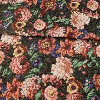 Гобелен черный в терракотовые, бежевые цветы, ш.150 оптом