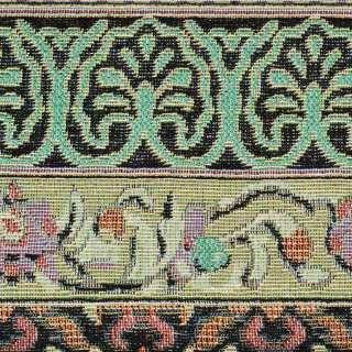 Гобелен в песочно-черные полосы с орнаментом ш.150 оптом