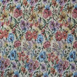 Гобелен бежевый светлый с бордово-голубыми цветами ш.150 оптом
