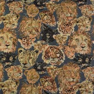 Гобелен синий в львы, леопарды, пантеры ш.145 оптом