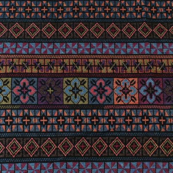 Гобелен в коричнево-синие+зеленые полоски с орнаментом ш.151 оптом