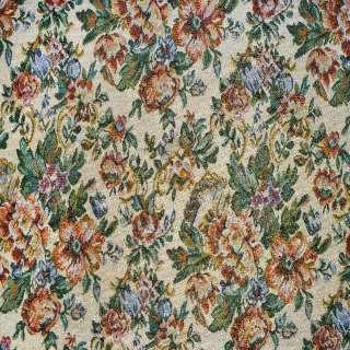 Гобелен бежевый светлый с цветами и золотистым люрексом ш.153 оптом