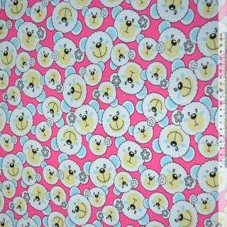 Ткань мебельная малиновая с белыми мишками ш.150 оптом