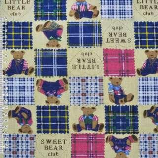 Ткань мебельная желтая светлая в синие квадраты с мишками ш.150 оптом