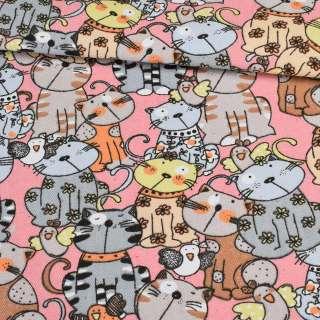 Деко-коттон коты на розовом фоне, ш.150 оптом