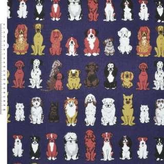 Деко-коттон синий с собаками ш.150 оптом