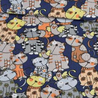 Деко-коттон коты на синем фоне, ш.150 оптом