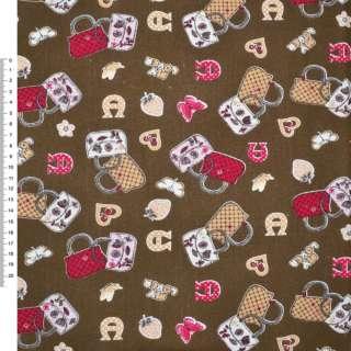 Деко-коттон коричневый с сумочками ш.150 оптом
