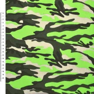 """Деко-коттон бежевый салатово-зеленый """"камуфляж"""" ш.150 оптом"""