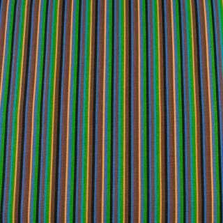 Деко-коттон коричнево-синие, черно-персиковые узкие полоски ш.150 оптом