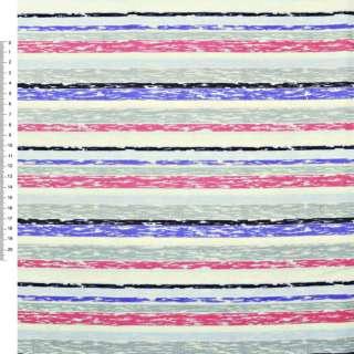 Деко-коттон серо-голубые, малиново-кремовые полоски ш.150 оптом