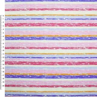 Деко-коттон розово-красные, молочно-голубые полоски ш.150 оптом