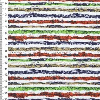 Деко-коттон оранж-белые, зелено-синие полоски с точками ш.150 оптом