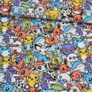 Деко-коттон покемоны на сером фоне, ш.150 оптом