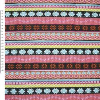 Деко-коттон коричнево-оранжевые, розово-черные полоски с орнаментом ш.150 оптом