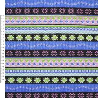 Деко-коттон черно-голубые, розовые полоски с орнаментом ш.150 оптом