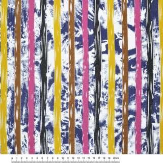 Деко-котон синьо-білі, жовто-коричневі, малиново-чорні смужки ш.150 оптом