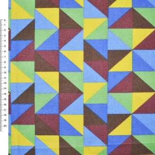 Деко-котон жовто-блакитні, коричнево-зелені трикутники ш.150 оптом