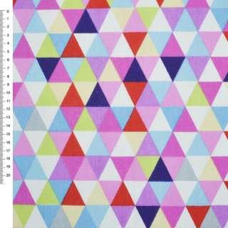 Деко-котон червоно-білі, рожево-блакитні трикутники ш.150 оптом
