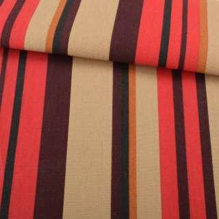 Деко-коттон коричнево-красные, горчичные полоски ш.150 оптом