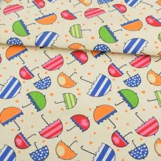 Деко-котон кремовий с різнокольоровими парасольками ш.150 оптом