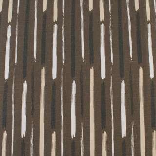 Деко-котон коричневий в білі, бежеві, чорні широкі штрихи, ш.150 оптом