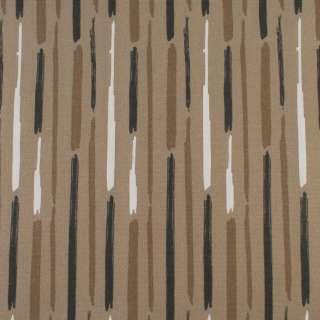 Деко-котон бежевий в білі, коричневі сірі широкі штрихи, ш.150 оптом