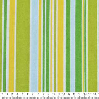 Деко-котон салатово-жовті, зелено-блакитні смуги ш.150 оптом