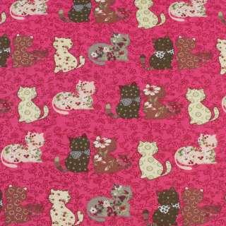 Деко-котон малиновий в кішки печворк, ш.150 оптом