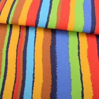 Деко-коттон желто-салатовые, красно-синие рваные полоски ш.150 оптом