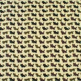 Деко-котон молочний в чорні, сірі, коричневі кішки, ш.150 оптом
