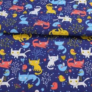 Деко-котон синій, різнокольорові кішки, пташки, ш.150 оптом