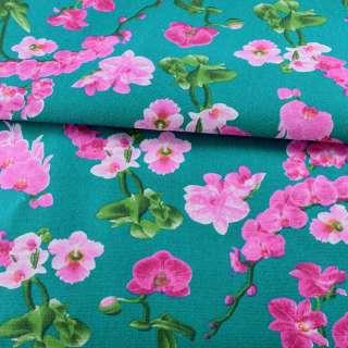 Деко-котон бірюзовий, рожеві орхідеї, ш.150 оптом