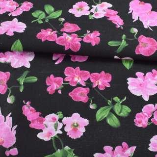 Деко-котон чорний, рожеві орхідеї, ш.150 оптом