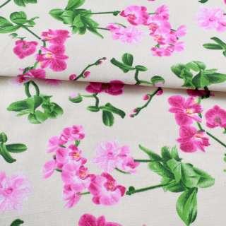Деко-котон молочний, рожеві орхідеї, ш.150 оптом