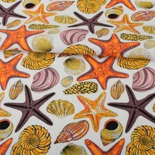 Деко-коттон белый, разноцветные раковины, морские звезды, ш.150 оптом