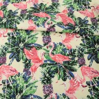 Деко-коттон кремовый, зеленые листья, розовые фламинго, ш.150 оптом