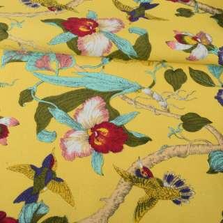 Деко-коттон желтый, орхидеи, птички, ш.150 оптом