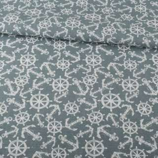 Деко-коттон серый, белые якоря, штурвалы, ш.150 оптом