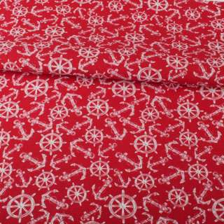 Деко-коттон красный, белые якоря, штурвалы, ш.150 оптом