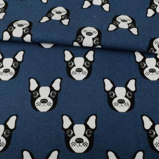 Деко-коттон синий темный, черно-белые собачки, ш.150 оптом