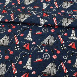 Деко-коттон синий темный, красно-белые маяки, кораблики, ш.150 оптом