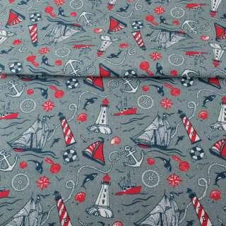 Деко-коттон серый, красно-белые маяки, кораблики, ш.150 оптом