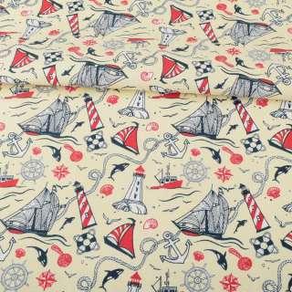 Деко-коттон молочный, красно-белые маяки, кораблики, ш.150 оптом