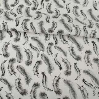Деко-коттон белый, серые перья, ш.150 оптом