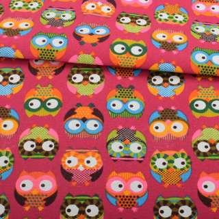 Деко-коттон малиновый, разноцветные совы, ш.150 оптом